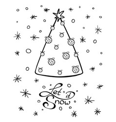 Chrismas tree and lettering with wishes vector
