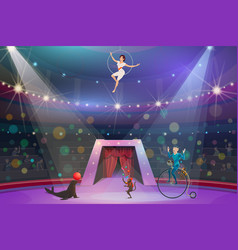 circus show animals and performers on arena vector image