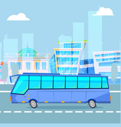city tourist driving bus on cityscape cartoon vector image