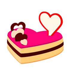 colorful cartoon heart cake vector image