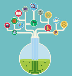 concept of science tech tree with icons vector image