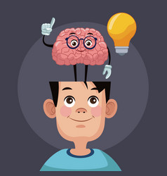 Cute brain cartoon in kid head vector