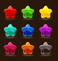 cute cartoon jelly stars in different colors vector image