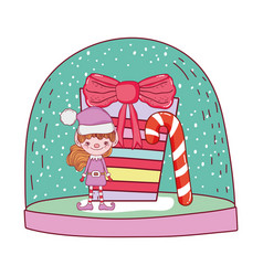 cute santa helper with gifts vector image