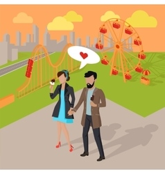 Date in the amusement park vector