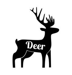 deer black logo silhouette vector image