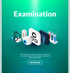 Examination poster of isometric color design vector