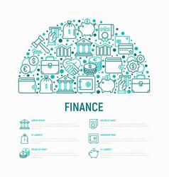 Finance concept in half circle vector