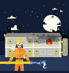 Firefighter man with water hose at burning motel vector
