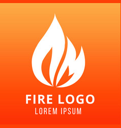 Flame of fire logo design on fire color background vector