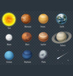 flat isometric isolated set of planets in the vector image