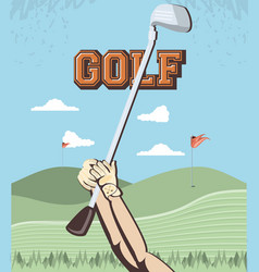 golf player hands in the course vector image