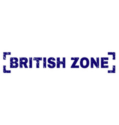 Grunge textured british zone stamp seal between vector