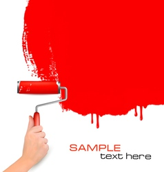 hand with red roller painting vector image