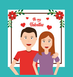 Happy couple embracing be my valentine card vector