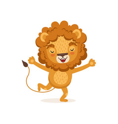happy smiling kid lion cartoon vector image