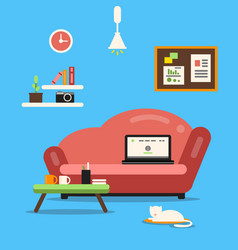 home office or freelancer interior with sofa and vector image