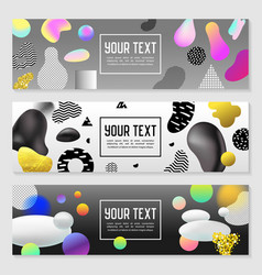 Horizontal banners set gold glitter fluid shapes vector