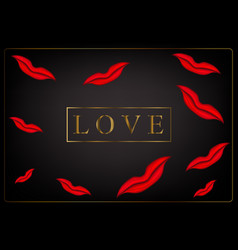 inscription love and a lot of red lips vector image