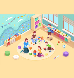 isometric kindergarten room with playing kids vector image