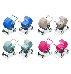 Isometric set baby strollers isolated on white vector