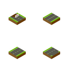 Isometric way set of down driveway plane and vector