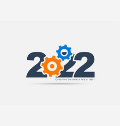 Logo 2022 new year gears and cogs creative ideas vector