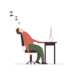 Man fell asleep at computer on white background vector