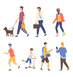 Men going outdoor activity character vector