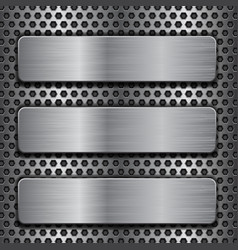metal plates on perforated background vector image