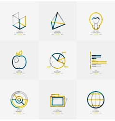 Minimal thin line design web icon set vector image