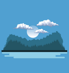 Night background landscape of mountains and lake vector