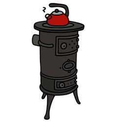 Old small stove with a teapot vector
