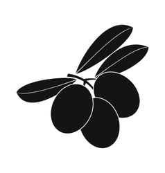 Olives on branch with leaves icon simple style vector