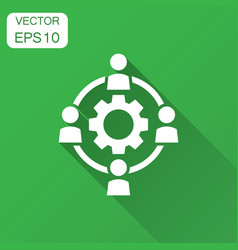 Outsourcing business collaboration icon in flat vector