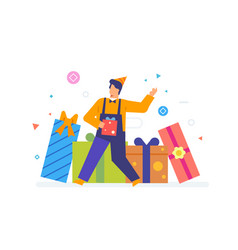 person receives many gifts discounts vector image