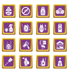 Pest control tools icons set purple square vector