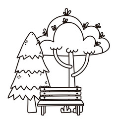 pine trees foliage bench park nature isolated icon vector image