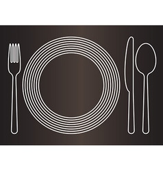 Plate knife spoon and fork vector image