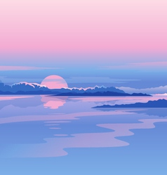 River Sunset Landscape vector