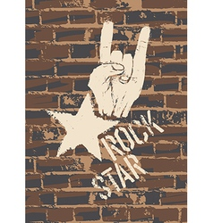 rock sign brick wall vector image