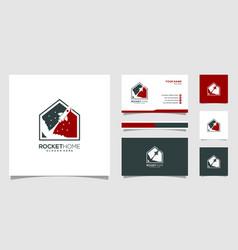 rocket home logo design vector image