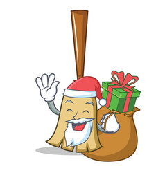 santa with gift broom character cartoon style vector image