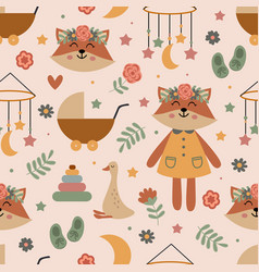 seamless pattern with cute fox and nursery element vector image