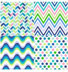 Seamless stripes zig zag and polka background vector
