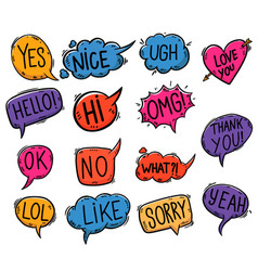 set hand drawn comic style speech bubbles vector image