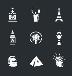 set landmark icons vector image