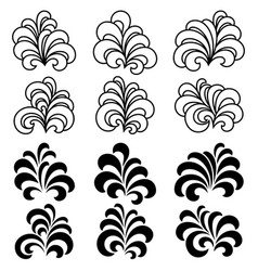 set of decorative floral curls vector image
