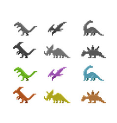 set of dinosaur icons in color pixel style vector image