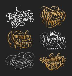 set of handwritten phrases ramadan kareem vector image